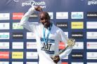 Sir Mo Farah celebrates after winning the Great North Run
