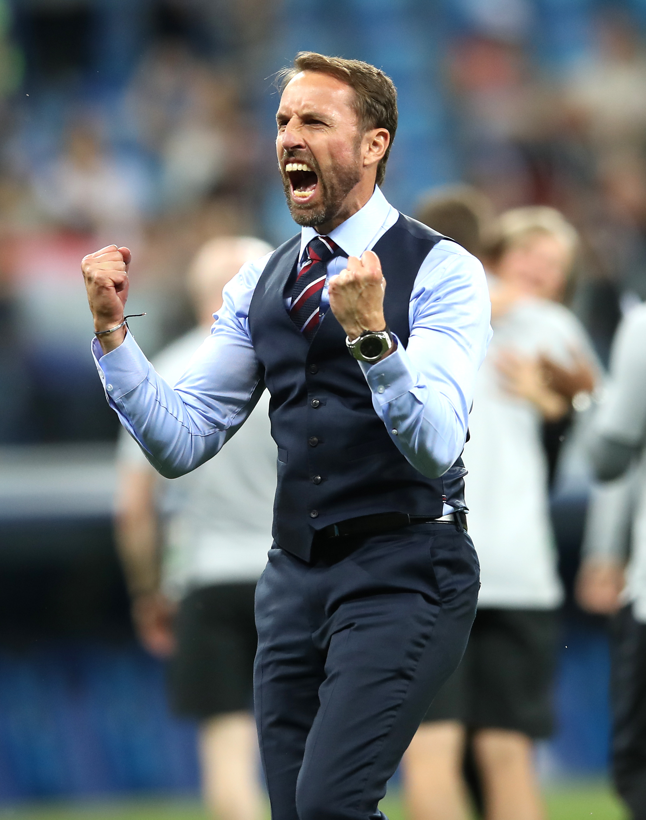 LEADER: Gareth Southgate celebrating a victory at this year's World Cup