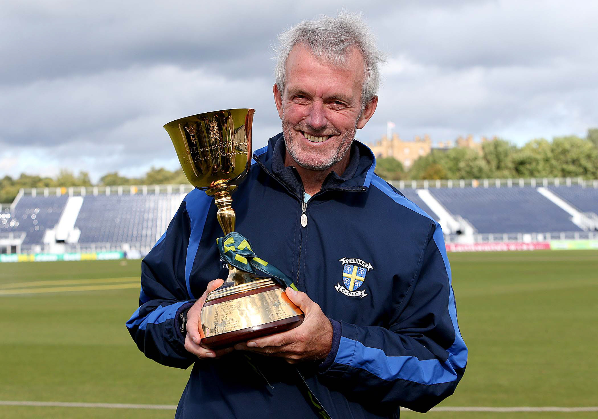 Durham CCC Head Coach Geoff Cook celebrates after winning the LV= County Championship in Chester le Street....
