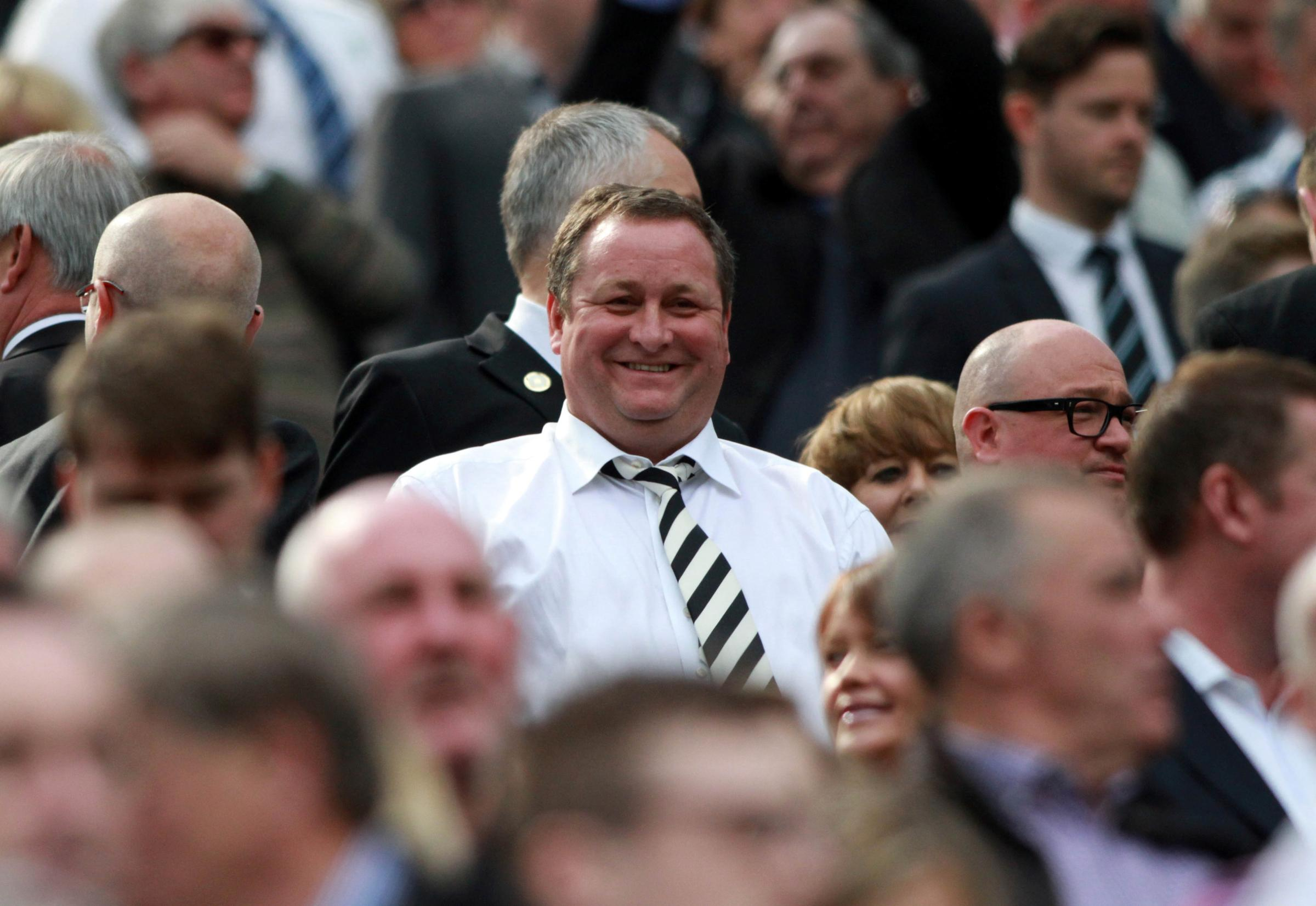 Newcastle United V West Ham FC in their final game of the 2014-15 Premier League season...Mike Ashley smiles before his team's crucial game...Picture: TOM BANKS.