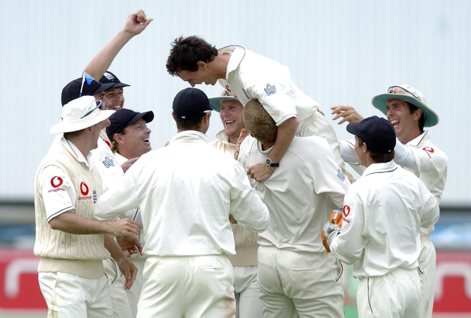 Cricket - Gary Pratt is mobbed by his teammates during his Ashes run-out of Ricky Ponting.
