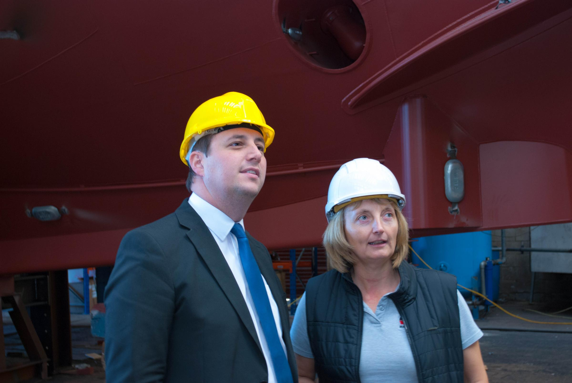 Ben Houchen, Tees Valley Mayor, with Sally Harrison, Director, Parkol Marine
