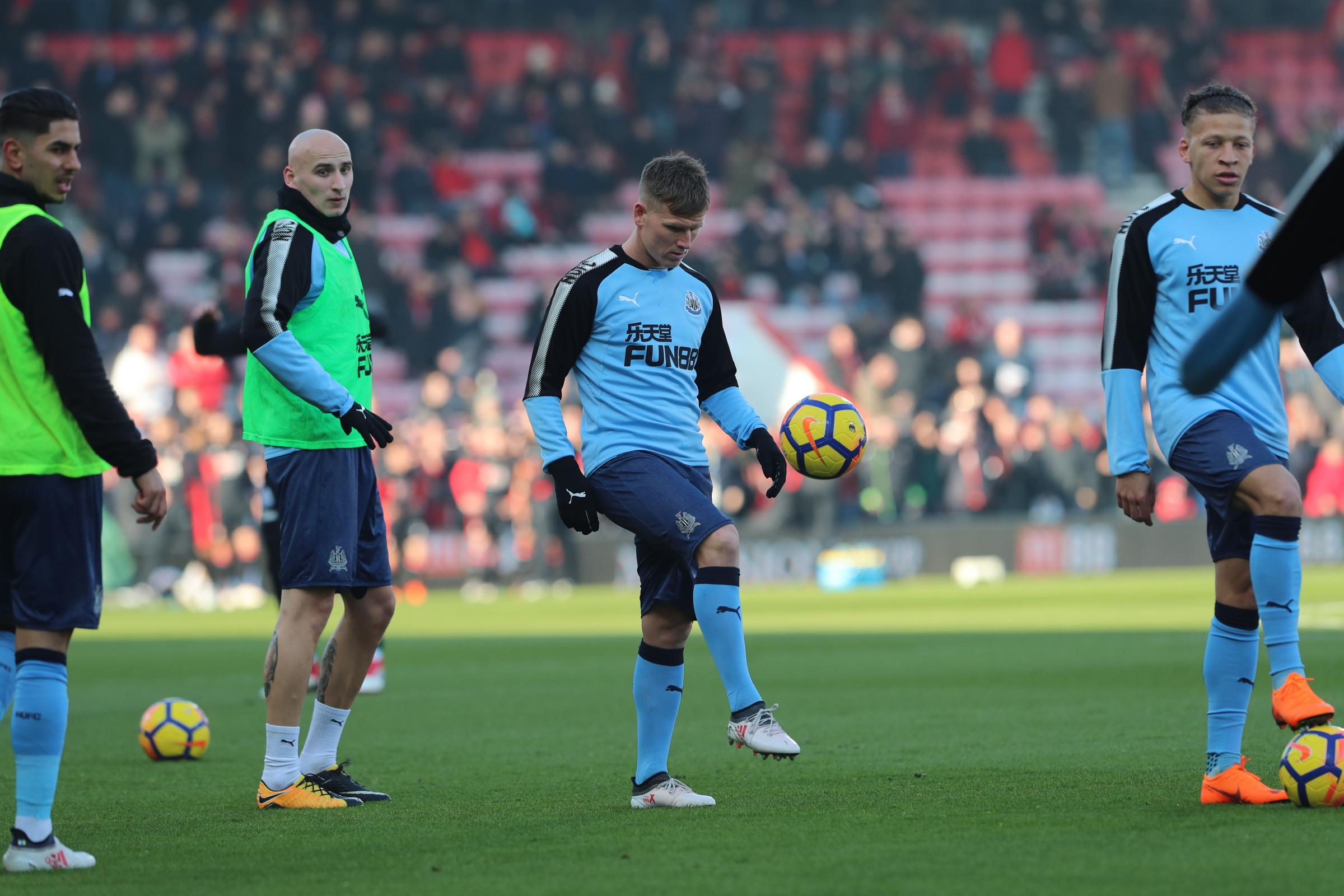 BUST-UP: Matt Ritchie (centre) clashed with Jamaal Lascelles during the build-up to Newcastle's game with Chelsea