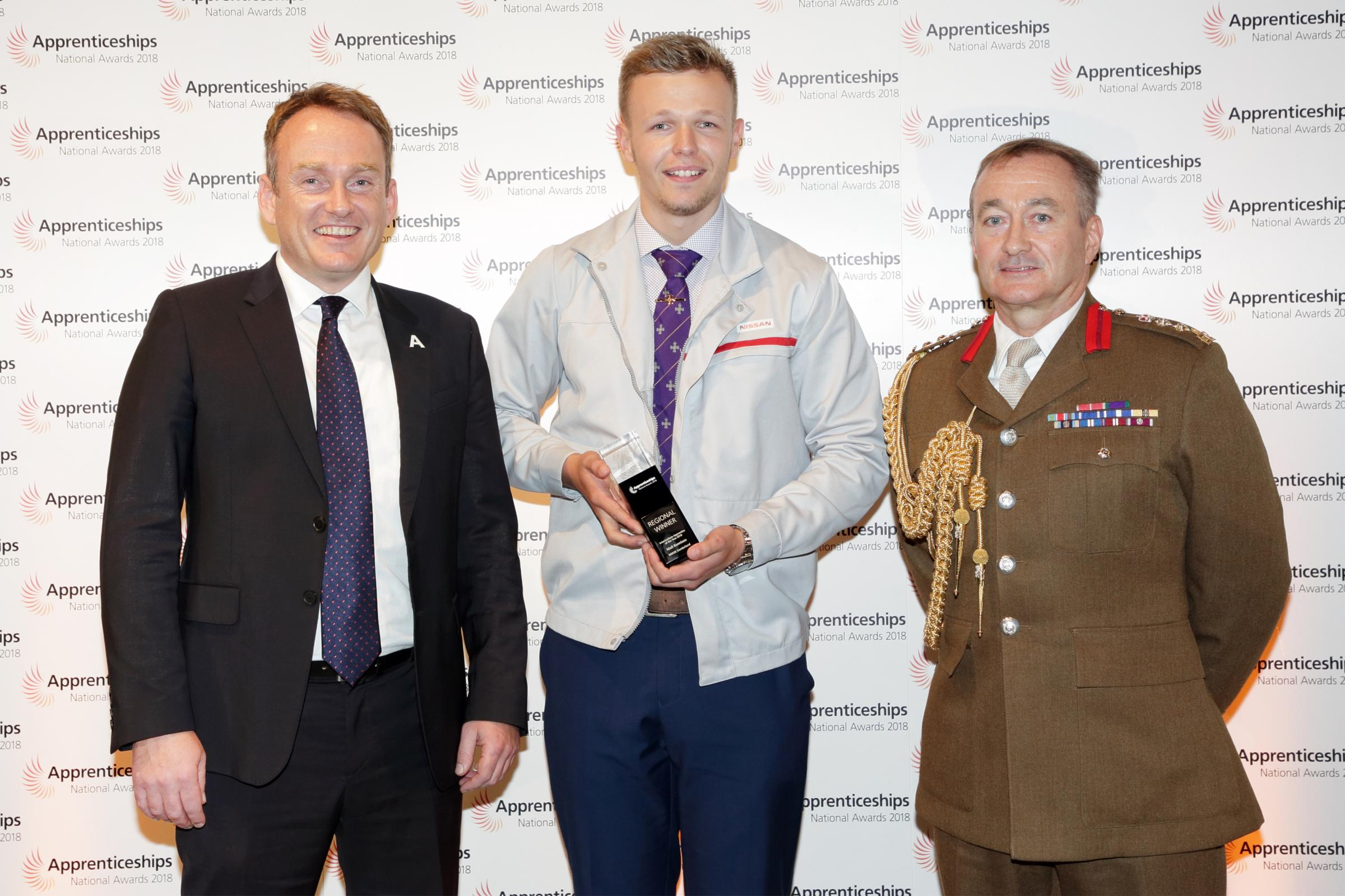 PRAISE: Anthony Knowles, Niall Bennison and Colonel Matt Quare MBE