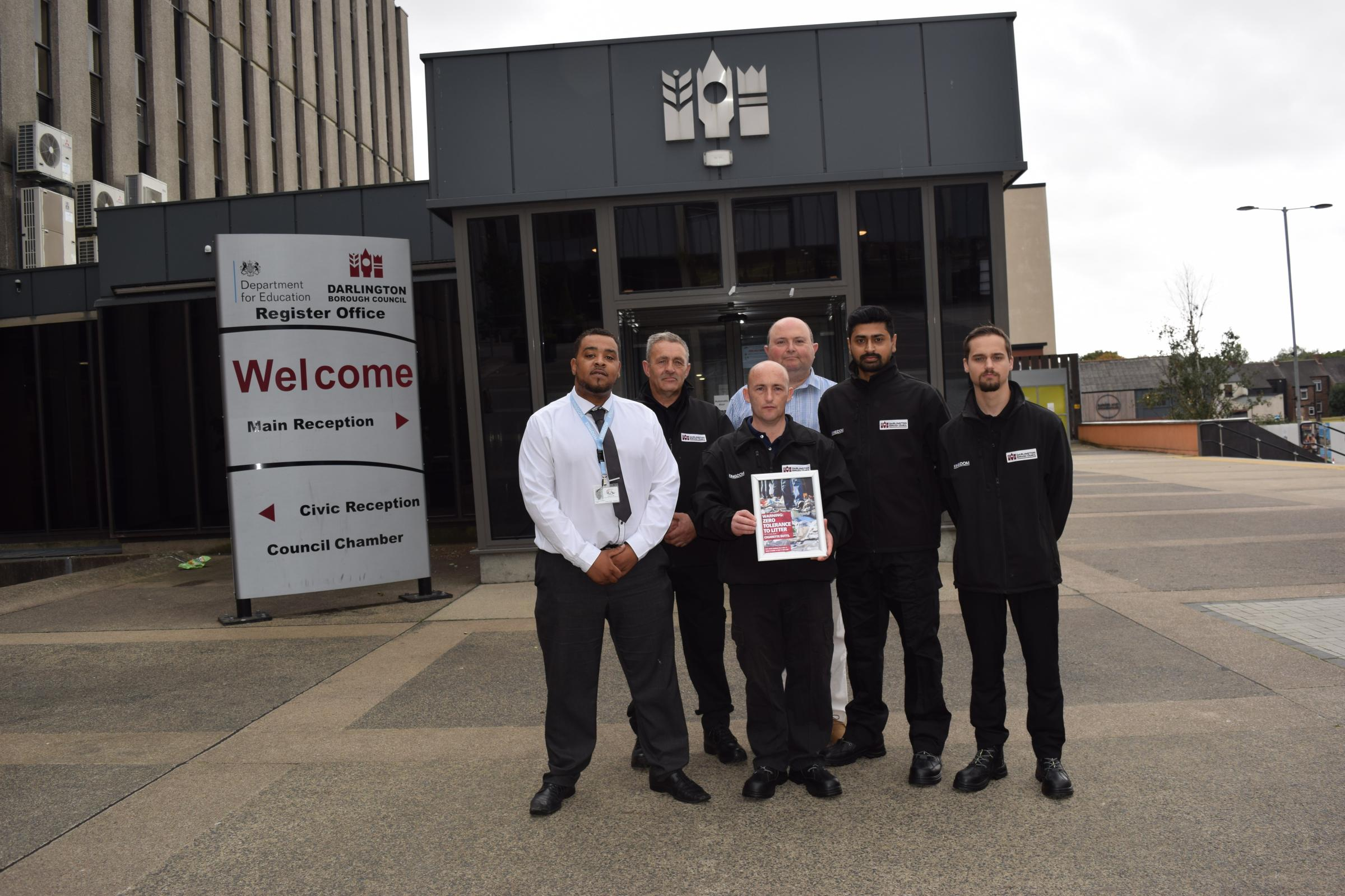 LITTER: John Walker, business manager at Kingdom; Marc Edworthy, business support at Kingdom; Terry Hughes, enforcement officer; Cllr Nick Wallis, Darlington Borough Council cabinet member for leisure and the local environment; Arun George, enforcement of