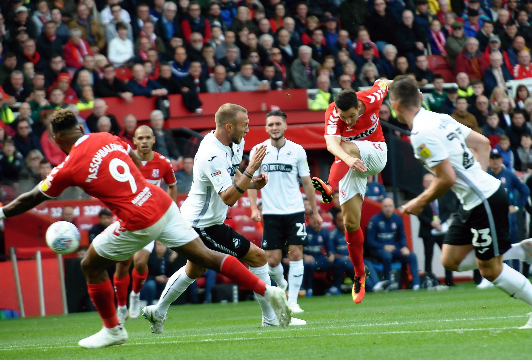 CLOSE: Stewart Downing had this shot saved early on against Swansea