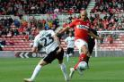 Dated: 22/09/2018..EFL CHAMPIONSHIP..MIDDLESBROUGH v SWANSEA CITY at the Riverside Stadium..Boro's Martin Braithwaite gets the better of Connor Roberts.. NOT AVAILABLE FOR PRINT SALES #NorthNewsAndPictures/2daymedia.