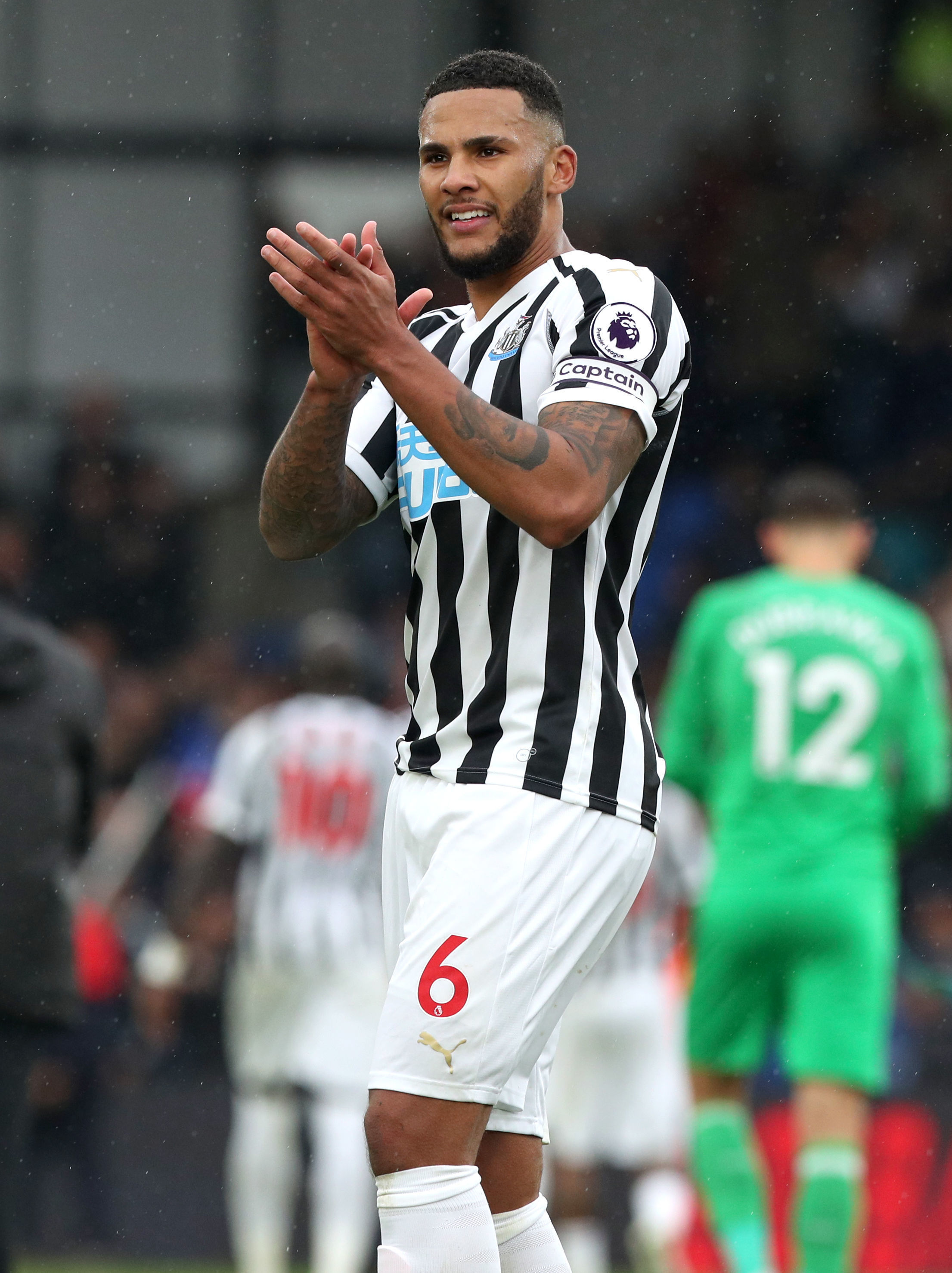 SHOW OF APPRECIATION: Jamaal Lascelles applauds the Newcastle fans in the wake of Saturday's goalless draw at Crystal Palace (Picture: JONATHAN BRADY/PA WIRE)