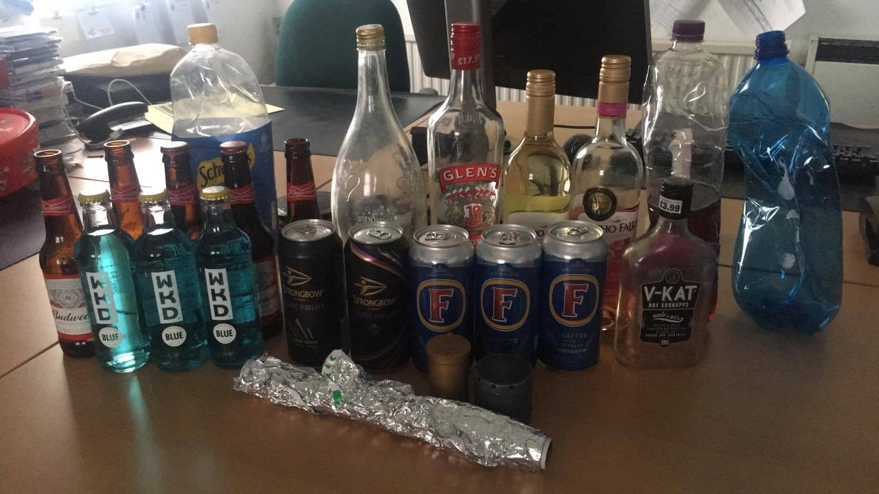 The alcohol which was seized from youths in Sacriston on Friday