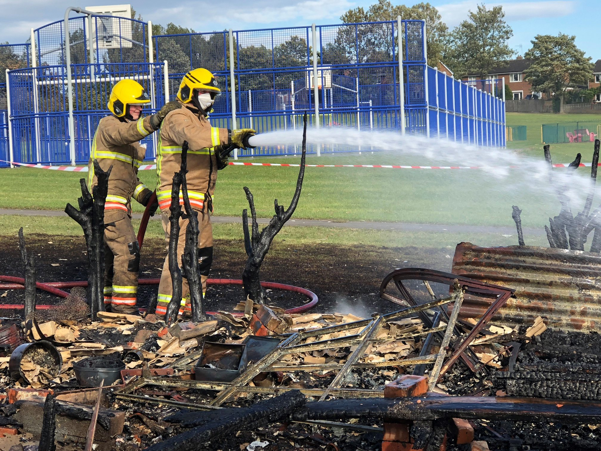TACKLE: Firefighters at the scene of an allotment blaze in Bowburn, near Durham Picture: COUNTY DURHAM AND DARLINGTON FIRE AND RESCUE SERVICE