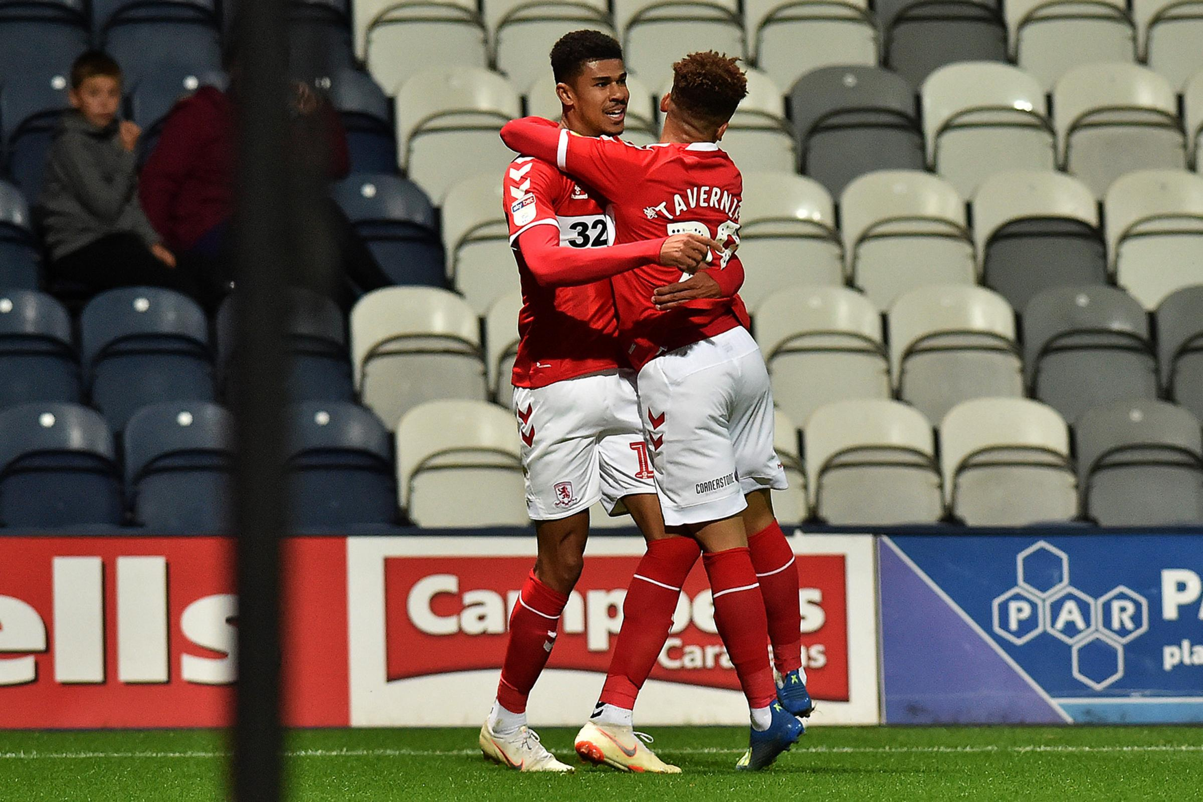 Middlesborough's Ashley Fletcher celebrates leveling the scores with team mate Marcus Tavernier during the Carabao Cup match between Preston North End and Middlesbrough at Deepdale, Preston on Tuesday 25th September 2018. (Credit: Eddie Garvey | MI Ne