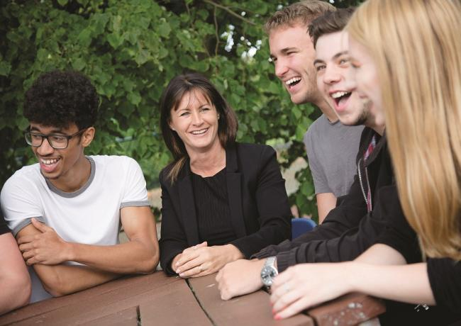 Headteacher Ellen Beveridge and some of the students at Durham Sixth Form Centre