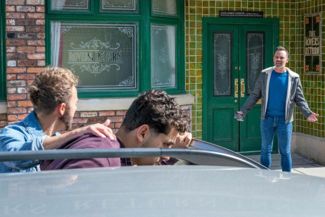 Billy Mayhew [DANIEL BROCKLEBANK] is shocked to see David Platt [JACK P SHEPHERD] bundling Josh Tinker [RYAN CARTWRIGHT] into his car and is concerned that he is going to do something stupid.