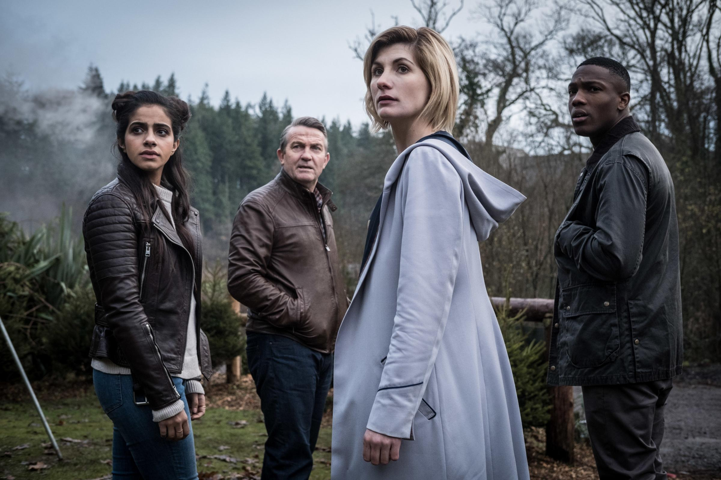 DOCTOR WHO: Mandip Gill as Yaz, Bradley Walsh as Graham, Jodie Whittaker as The Doctor, Tosin Cole as Ryan. Picture: PA Photo/BBC/BBC Studios/Giles Kyte