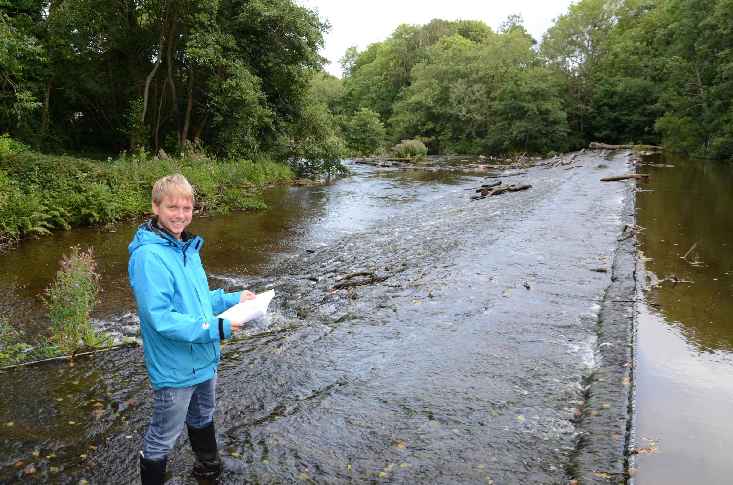 PROJECT: Jack Bloomer, Tyne Rivers Trust deputy director, at Shotley Grove weir, where work is about to start to increase fish populations on the River Derwent. The work is expected to take six weeks.