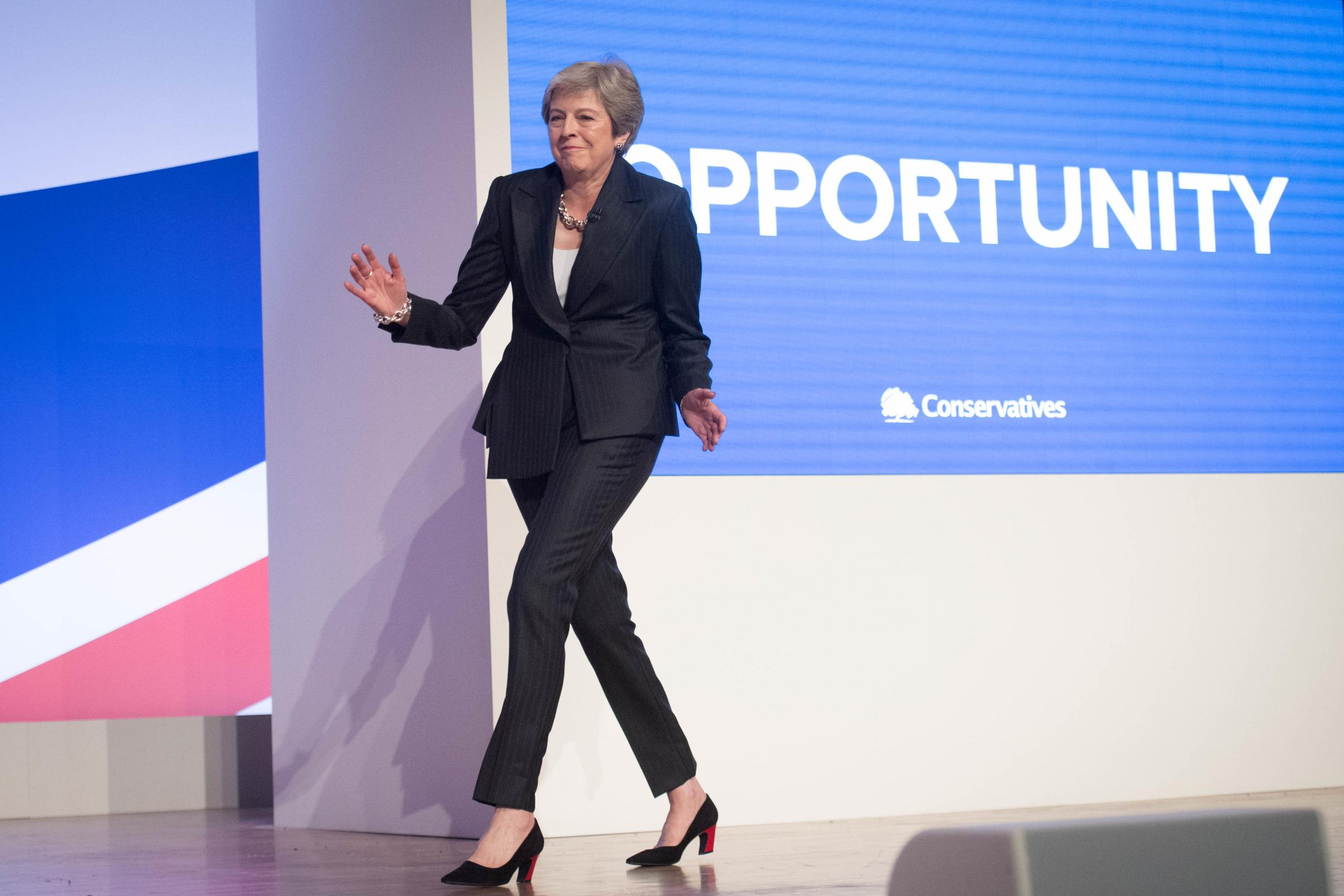 Prime Minister Theresa May dances as she arrives on stage to make her keynote speech at the Conservative Party annual conference at the International Convention Centre, Birmingham. Picture: Stefan Rousseau/PA Wire
