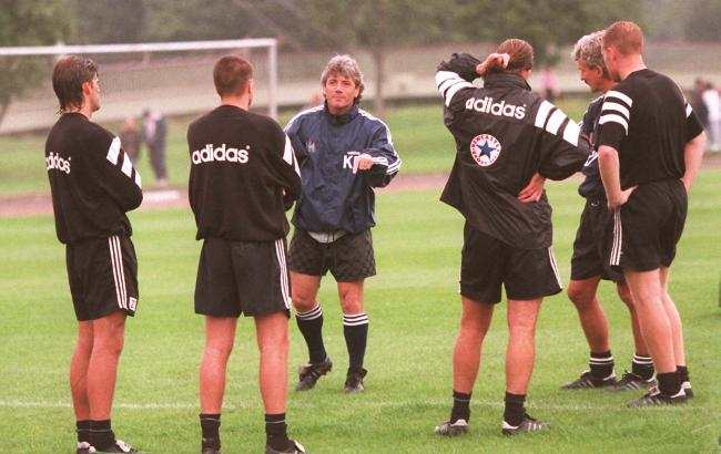 HAPPY DAYS: Kevin Keegan issues some instructions on the training ground at Maiden Castle during his first spell as manager of Newcastle United