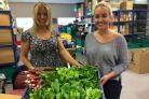 PRODUCE: Volunteers handed over freshly grown food to foodbank manager Caroline Todd