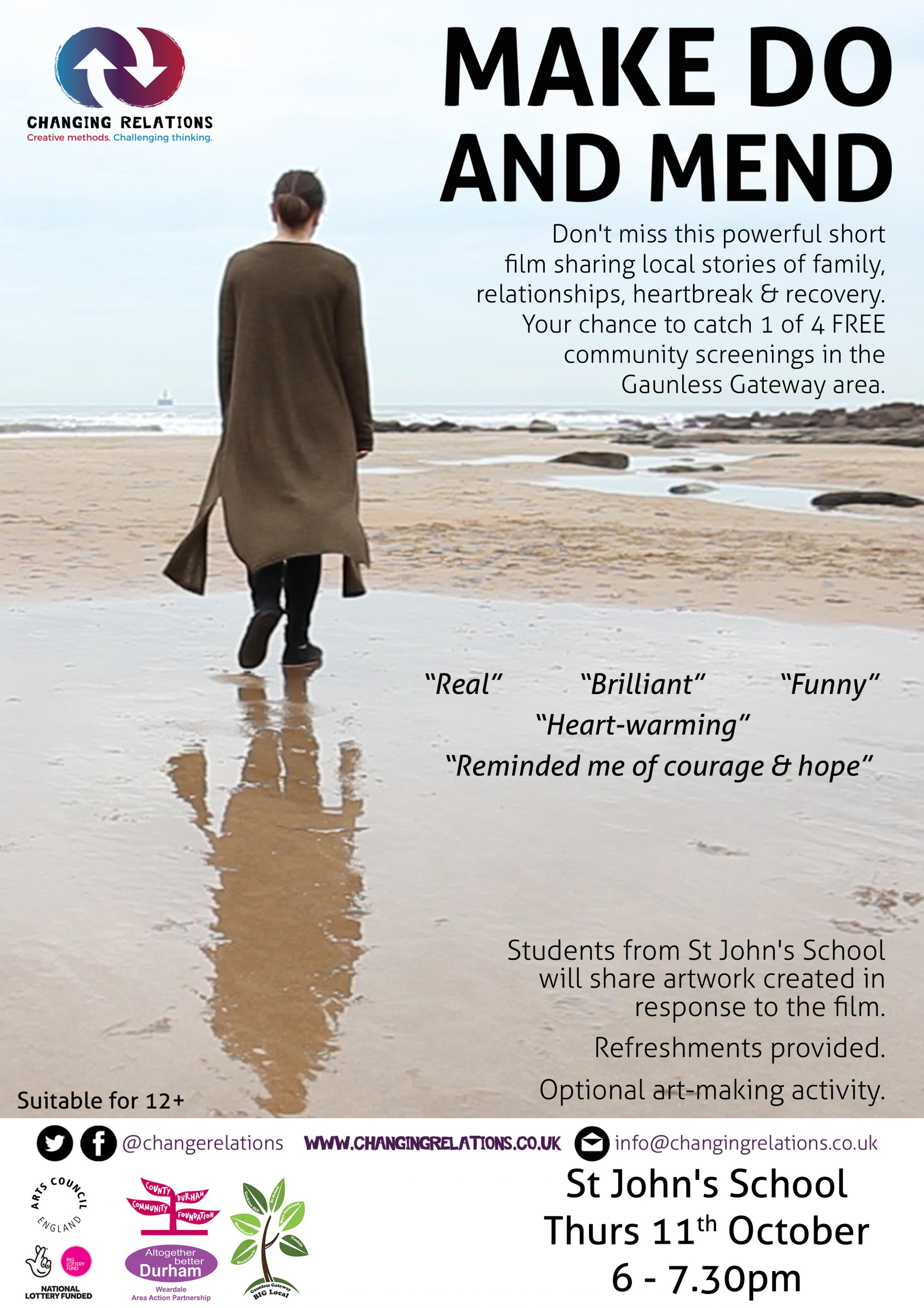Make Do and Mend, a film about domestic abuse, will be shown at four community venues this month