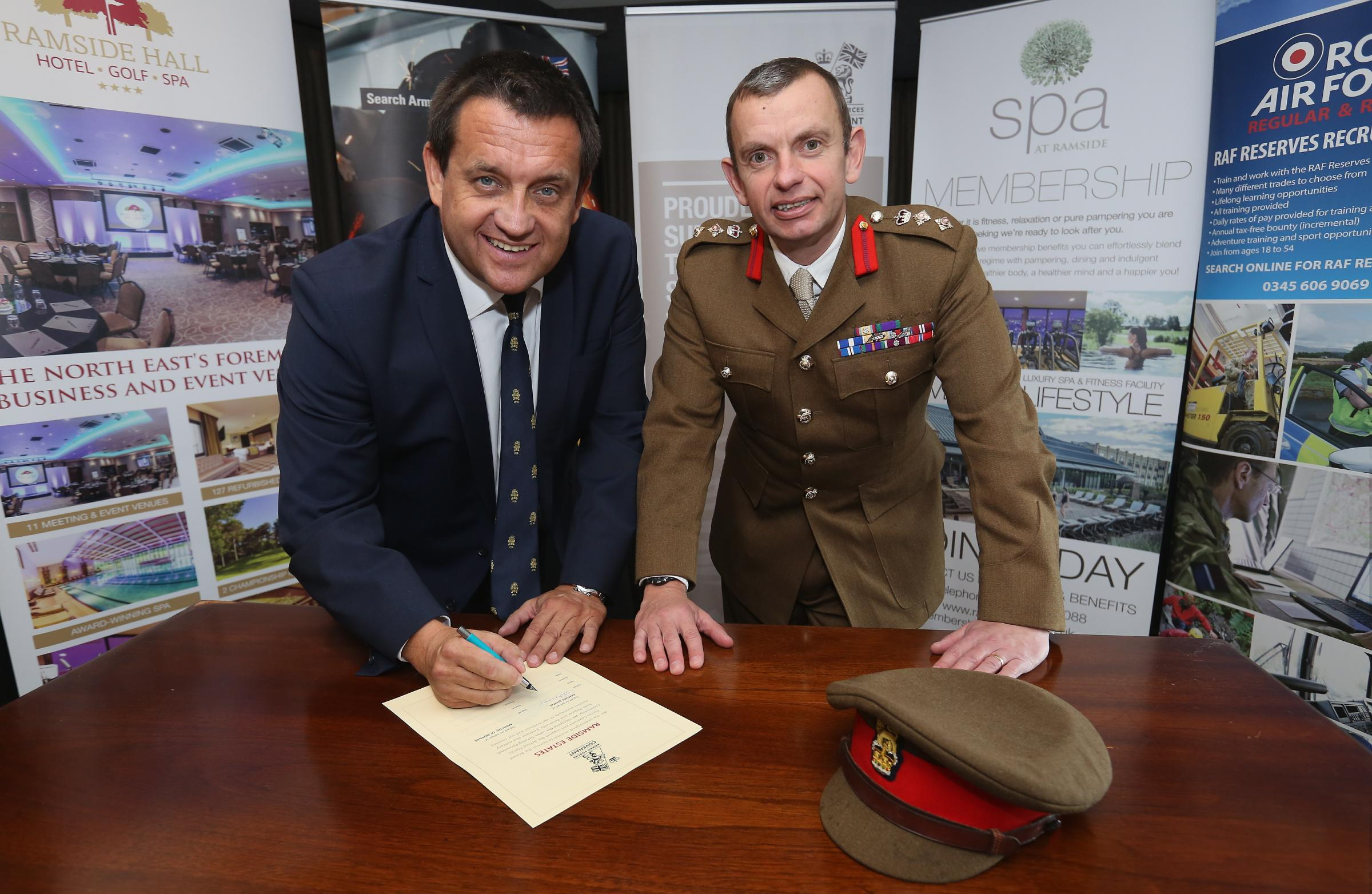 John Adamson MD Ramside Estates and Colonel Andy Hadfield, Deputy Commander of the 4th Infantry Brigade.