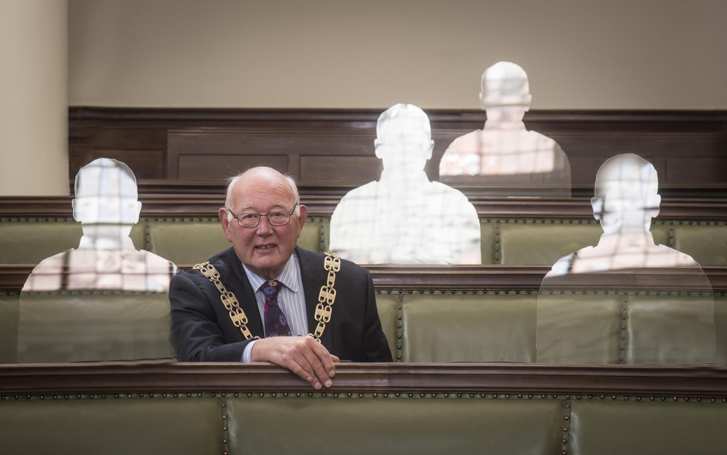 North Yorkshire County Council chairman Robert Windass with some of the figures