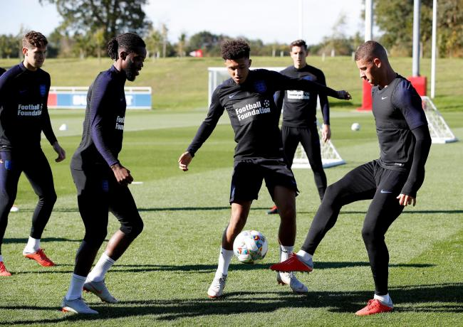 FRESH FACE: Jadon Sancho (middle) takes part in England training at St George's Park ahead of tomorrow's Nations League game in Croatia