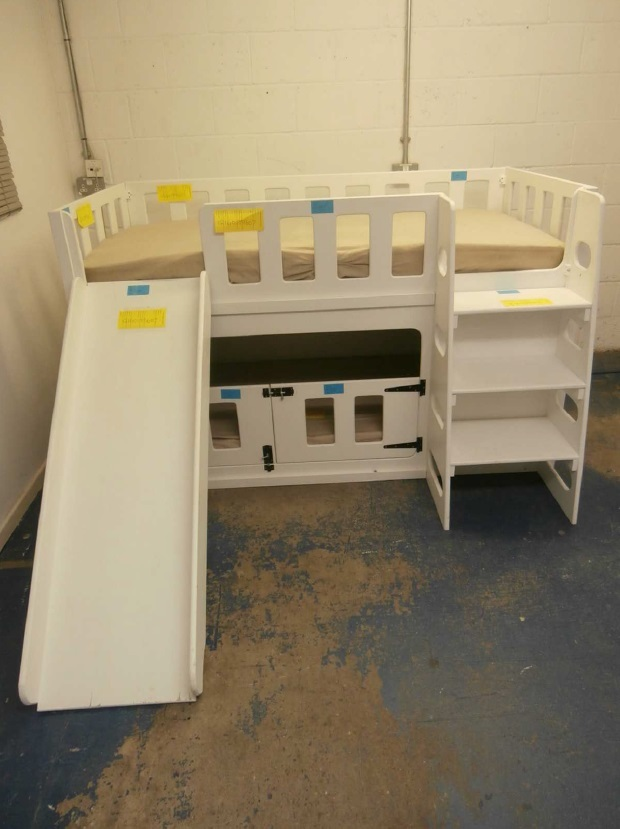 The bespoke bunk bed where Oscar died. The baby was sleeping in the lower part and caught in one opening in the cot gates