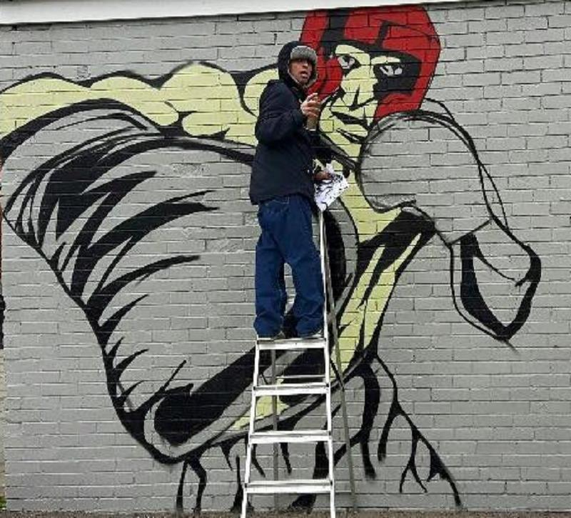 ARTIST: The graffiti artist pictured at work on one of his murals
