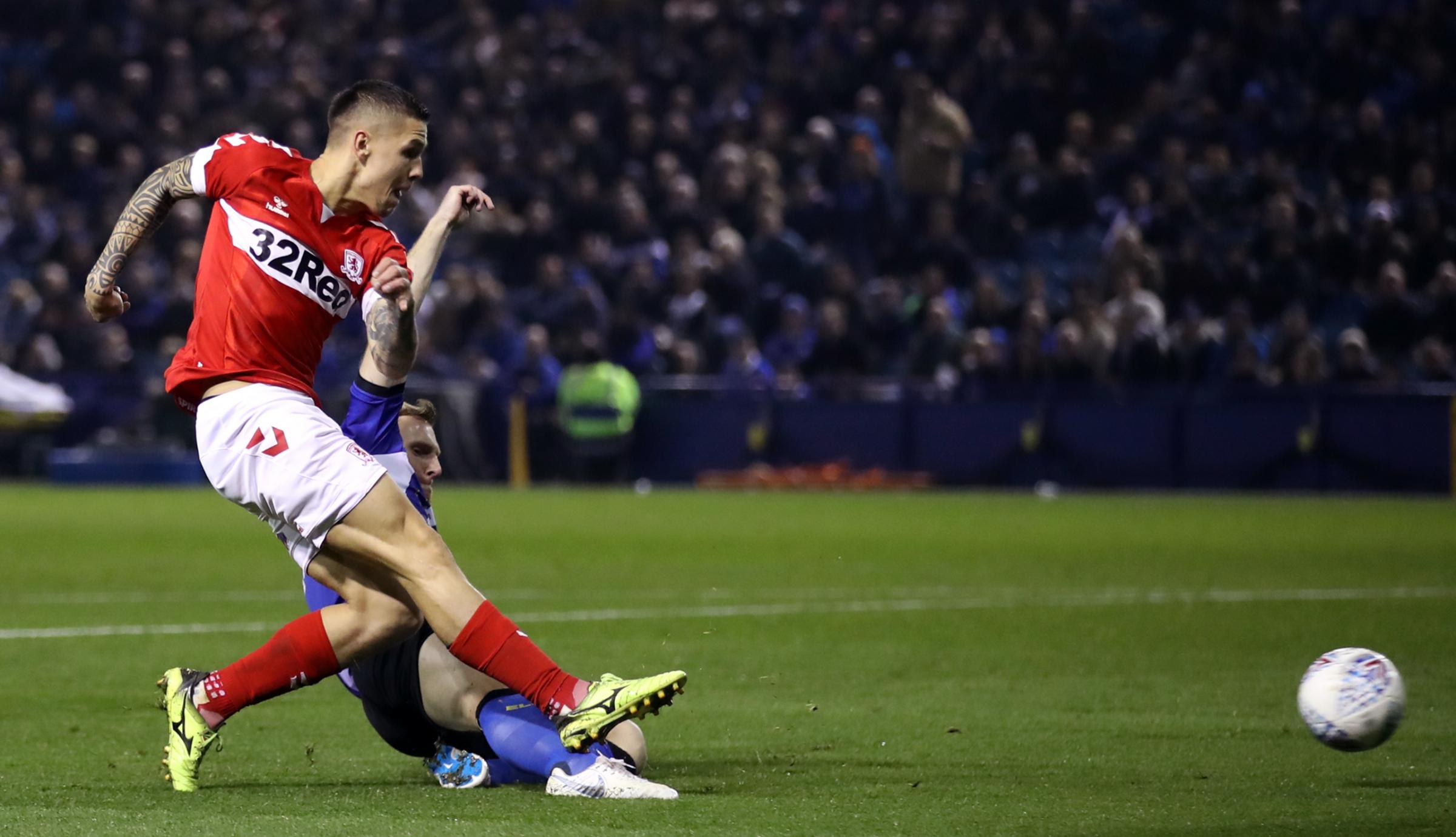 Middlesbrough's Muhamed Besic scores his side's first goal of the game during the Sky Bet Championship match at Hillsborough, Sheffield. PRESS ASSOCIATION Photo. Picture date: Friday October 19, 2018. See PA story SOCCER Sheff Wed. Photo credit sh