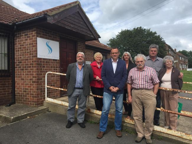 DISGRACE: Trimdon Parish Councillors with Sedgefield MP Phil Wilson outside Skerne Medical Group's Trimdon Village branch surgery during a closure in 2017