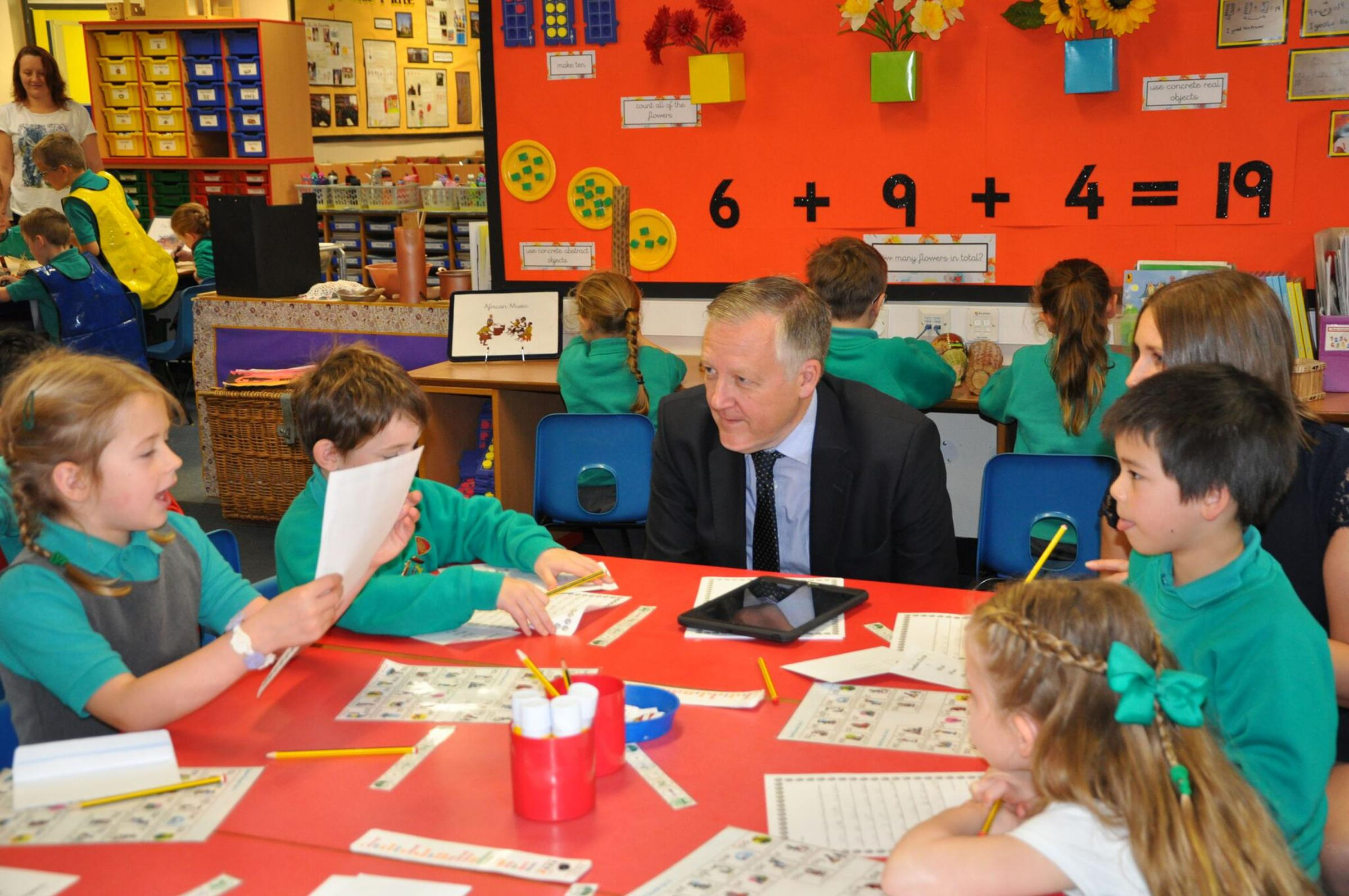VISIT: North Durham MP  Kevan Jones visits Lumley Infant and Nursery School, in Great Lumley, where he learned of links pupils had forged with a school in Uganda