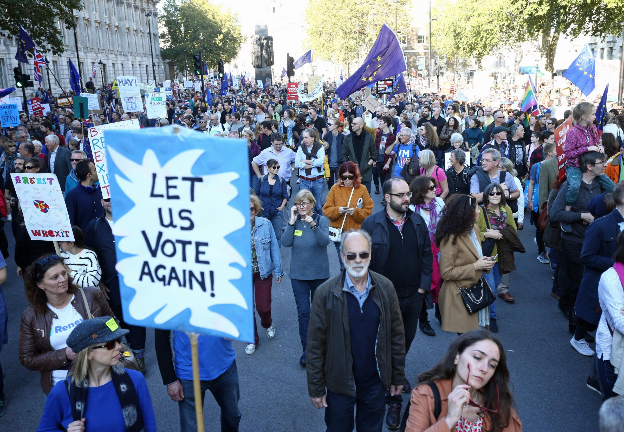 Anti-Brexit campaigners take part in the People's Vote March for the Future in London, a march and rally in support of a second EU referendum. PRESS ASSOCIATION Photo. Picture date: Saturday October 20, 2018. See PA story POLITICS Brexit Protest. Phot