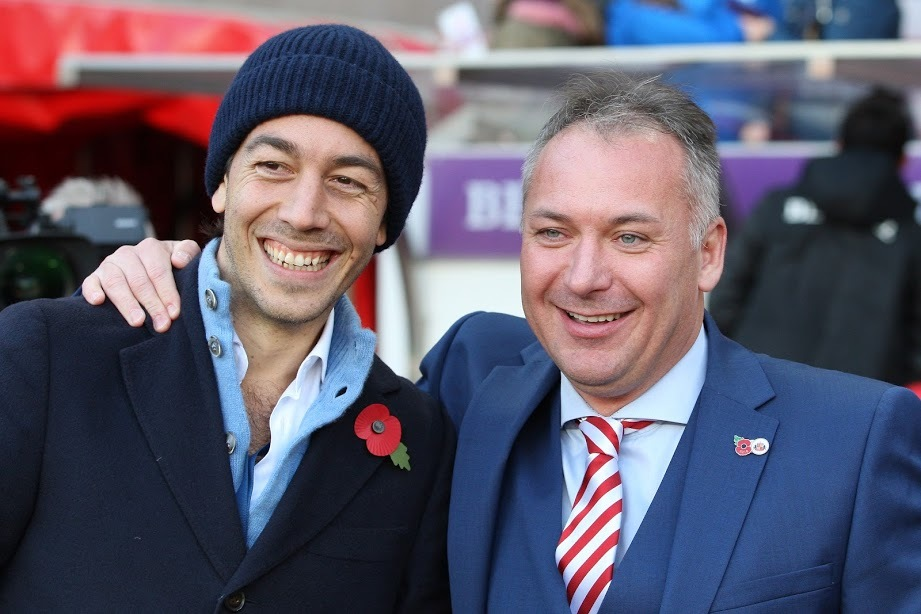 FRANK DISCUSSION: Sunderland owner Stewart Donald (right), pictured with director Juan Sartori (left) ahead of last weekend's win over Southend United