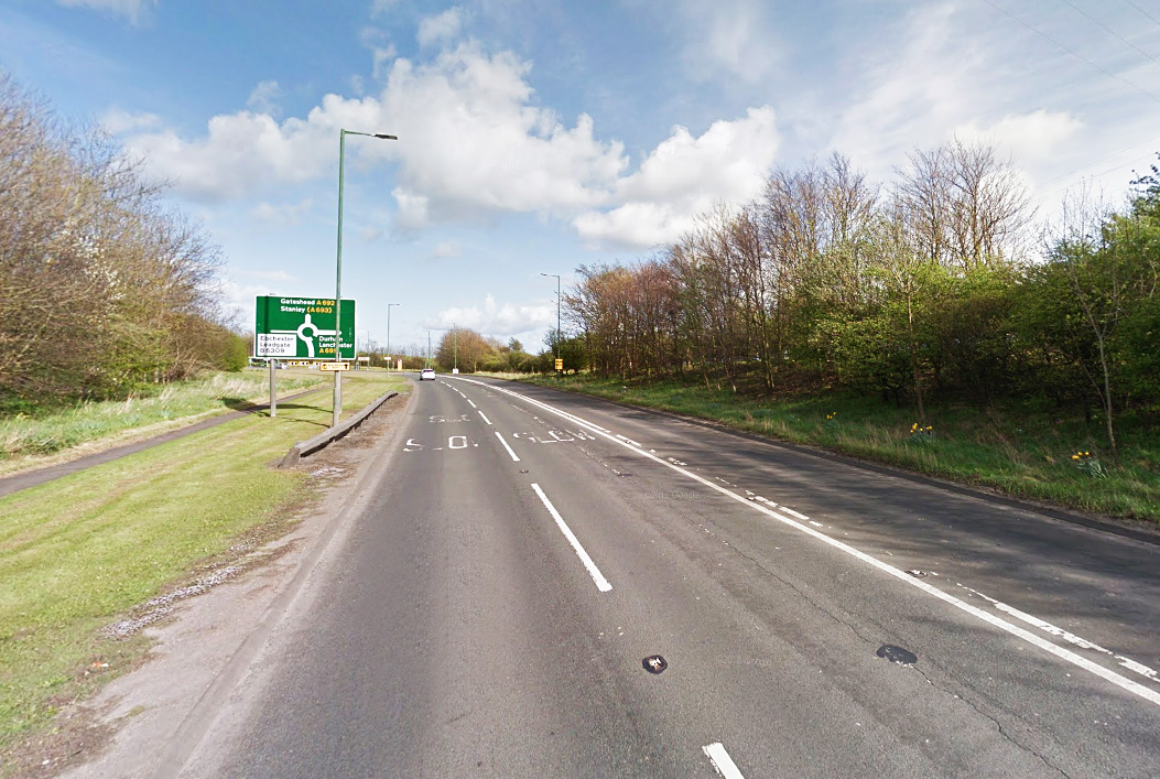 The A692 between Swinburne Terrace (Dipton) to A693 (Consett) was closed after a lamp post fell causing safety problems. Picture: Google