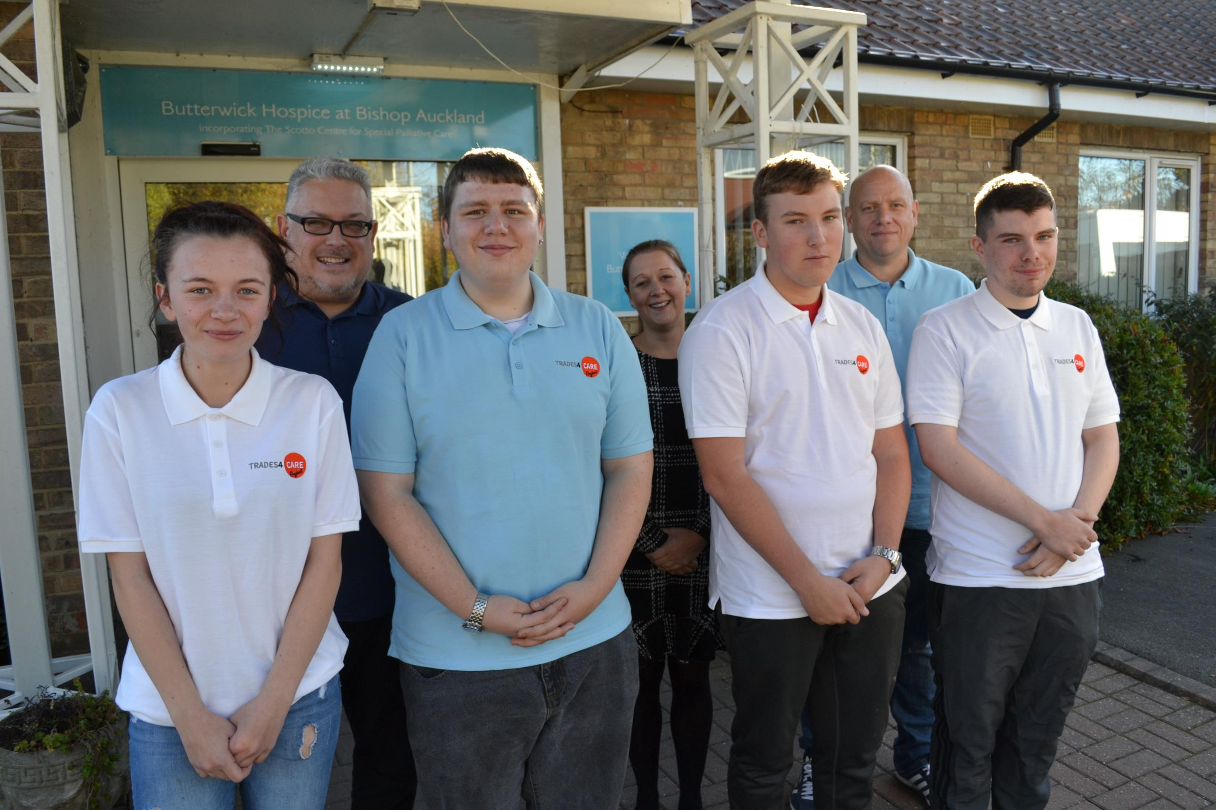 SKILLS: Bishop Auckland College students with head of school Michelle Andelin and Trades4Care co-founders Andrew Coxon and Charlie Wright