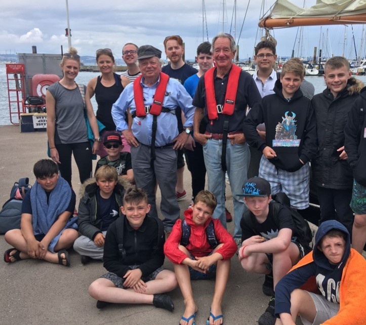 CREW: Wolsingham School pupils who took part in a sailing expedition met up with John Sergeant and Michael Burke