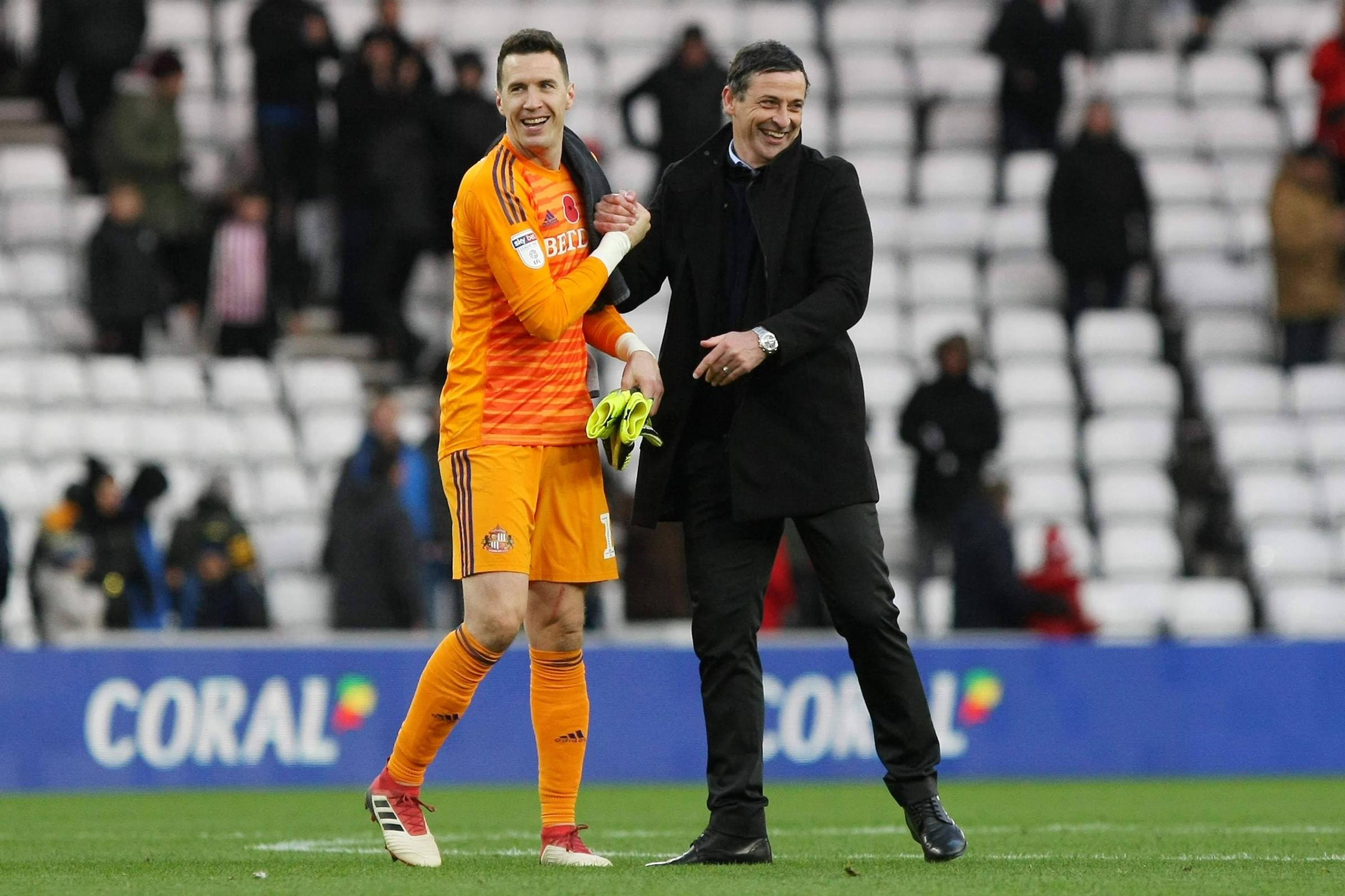 Sunderland manager Jack Ross celebrates victory with goalkeeper Jon McLaughlin after the League 1 match win over Southend United at the Stadium Of Light,  Picture: Steven Hadlow | MI News & Sport Ltd