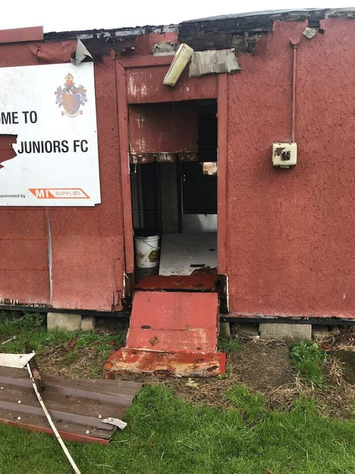 BADLY DAMAGED: Vandals smashed up portacabins at Northallerton Town FC's grounds