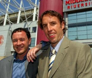 The Northern Echo: Gareth Southgate with chairman Steve Gibson at Middlesbrough FC`s Riverside stadium