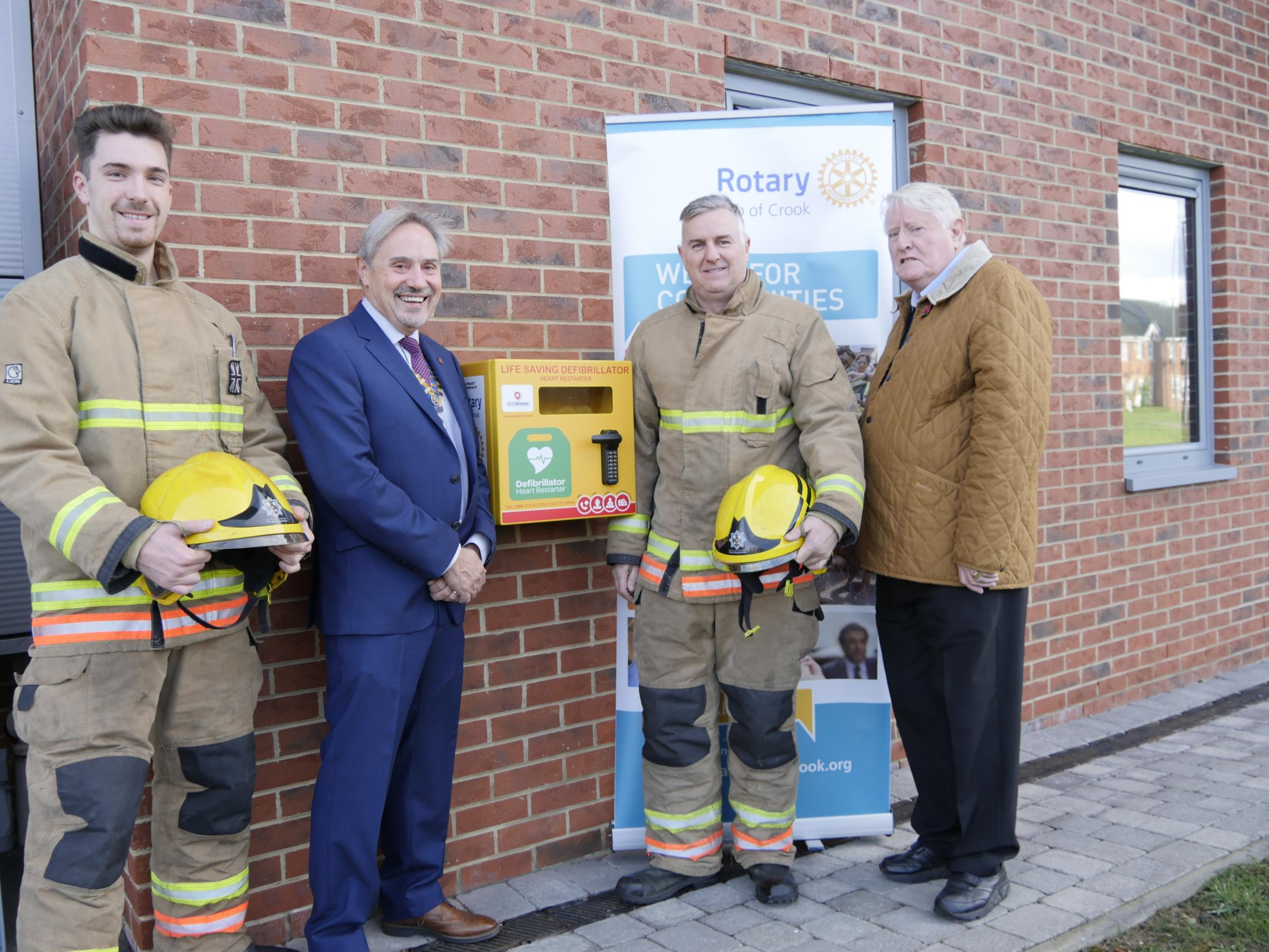 UNVEILED: Firefighter Shane Wright, Crook Rotary Club President Don Taylor, Crew Manager Peter Chisholm & Rotary Club Community Chairman Alan Cartwright