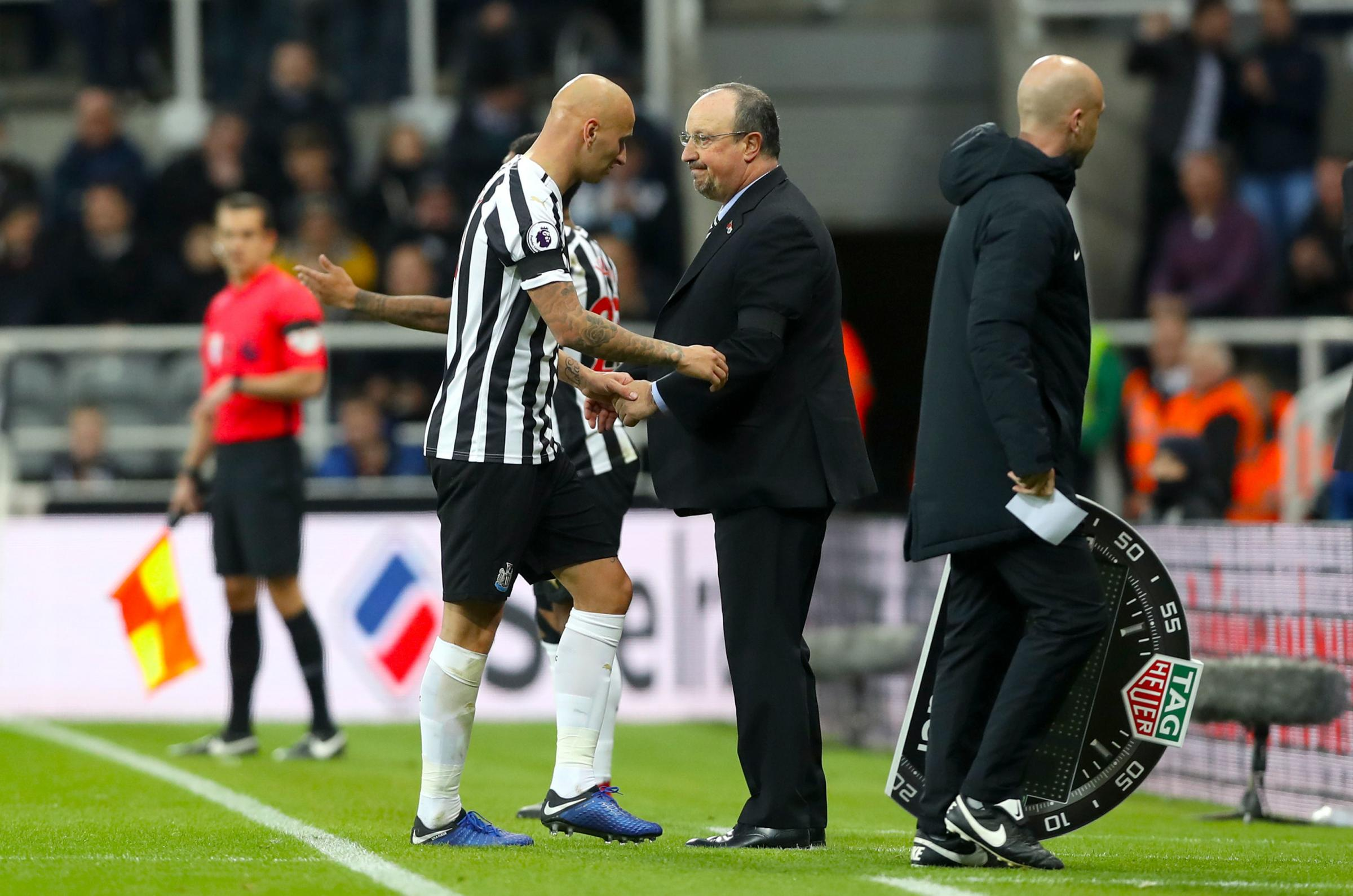 INJURY VICTIM: Jonjo Shelvey is a doubt for Newcastle's game against Bournemouth this weekend after suffering a muscular injury against Watford