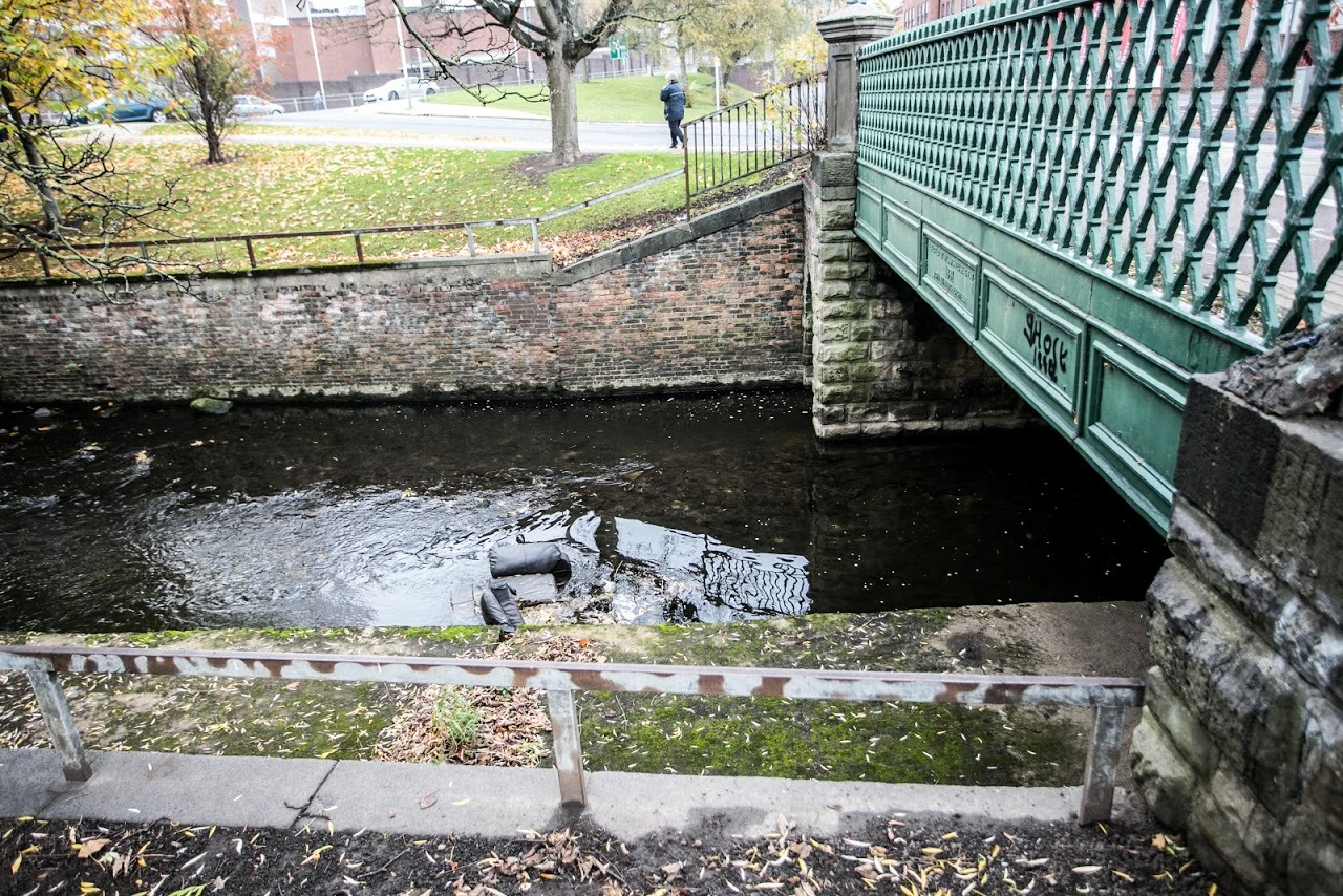FLY TIPPING: A sofa was dumped into the River Skerne, prompting concerns. Picture: SARAH CALDECOTT