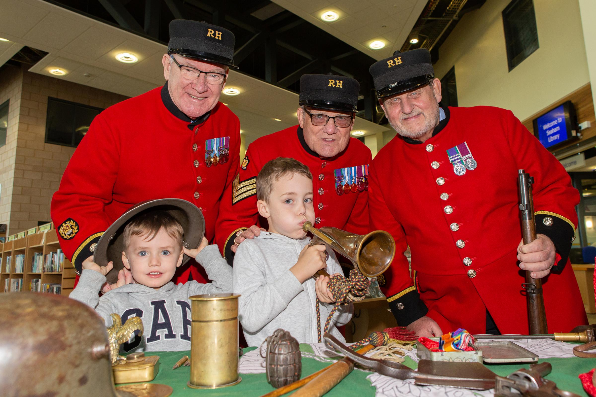 BUGLE'S CALL: Chelsea Pensioners visiting the When the Bugle Calls exhibition during their trip to Seaham
