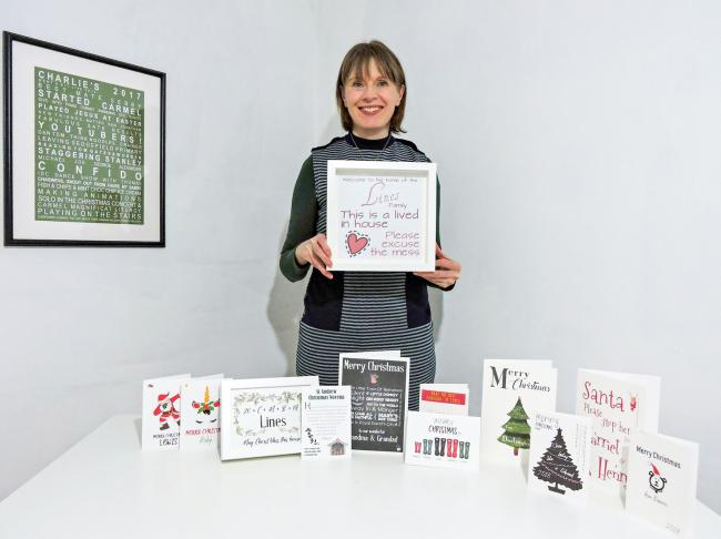 NEW BUSINESS: Catherine Lines, of Sedgefield, with her All About Words Christmas collection
