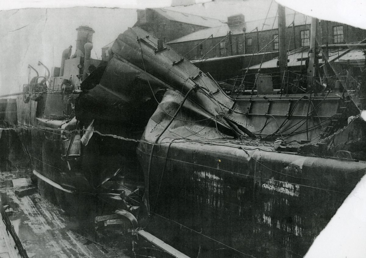 DAMAGED: Sprucol in dry dock after she was torpedoed in 1918Picture: MIKE DAY COLLECTION