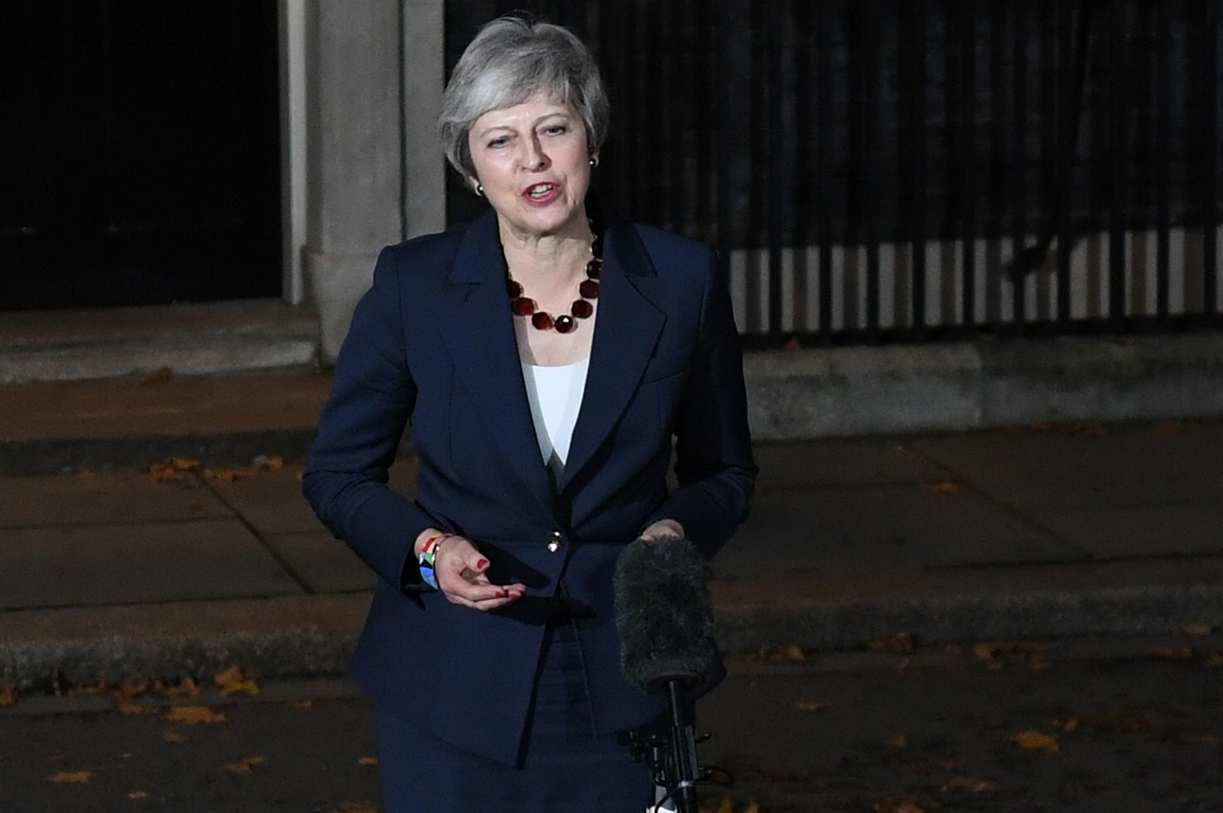 Prime Minister Theresa May makes a statement outside 10 Downing Street, London, confirming that Cabinet has agreed the draft Brexit withdrawal agreement. Picture: Stefan Rousseau/PA Wire
