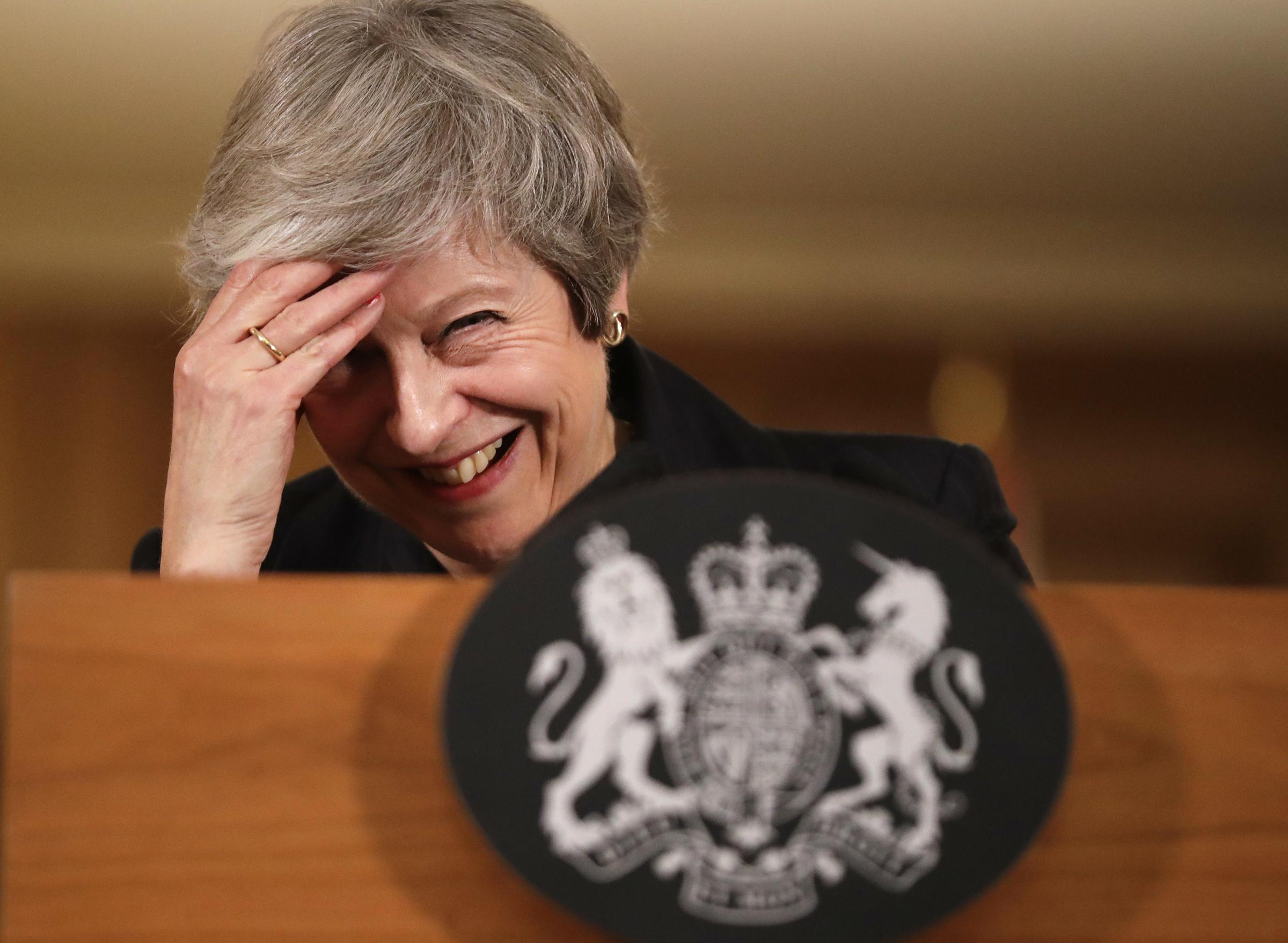Prime Minister Theresa May reacts during a press conference at 10 Downing Street, London, to discuss her Brexit plans Picture: PA