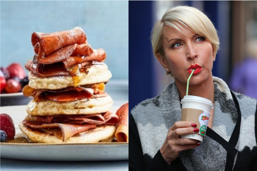 Heather Mills, right, and a bacon alternative created by VBites, which is expanding its operations after buying the former Walkers Snack factory in Peterlee. Picture: PA