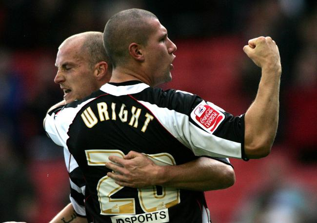 Tommy Wright with Alan White celebrating scoring for Darlington against Peterborough in 2007