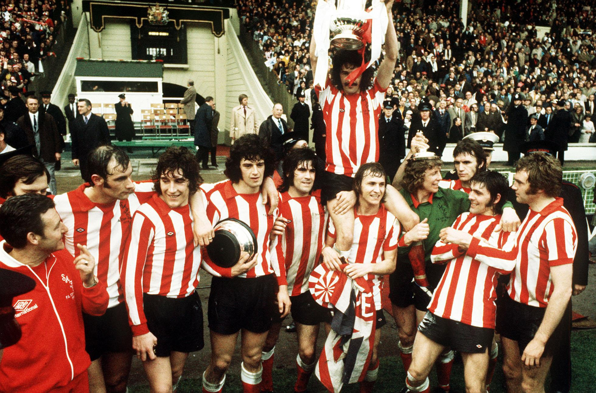 Sunderland players celebrate their win over Leeds in 1973. Picture: PA